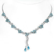 GENUINE SWISS BLUE TOPAZ & WHITE CZ STERLING 925 SILVER FLOWER NECKLACE 17.75""
