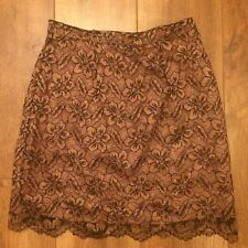 Warehouse Design Direct High Waisted Floral Gold Pencil Skirt Trim Size 10/12