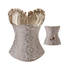 Lady Lace up Overbust Corset Top Bustier Steampunk Waist Training Cincher S-6XL