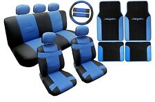 18PC Synthetic Leather Black Blue Car Seat Covers Steering Wheel Floor Mats HS9