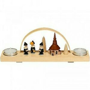 Christmas Decoration Candle Arches Carolers And Church Colourful with Tealight