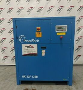 Used Pneutech 30 HP Rotary Screw Air Compressor 208 / 230 / 460 Volt Low Hours