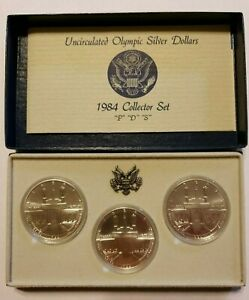 """1984 """"P"""" """"D"""" """"S"""" Olympic Silver Dollar Collector Set - 3 Coin Set - Nice!!"""