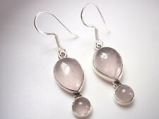 Rose Quartz Teardrop Sterling Silver Dangle Earrings Corona Sun Jewelry