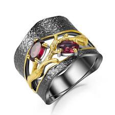 Women Fine Jewelry 14K Black Gold Rhodolite Garnet Zircons Ring Size 8