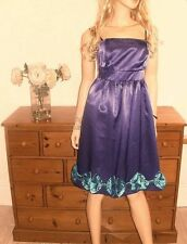Teatro Size 14 Purple Bow Trim DRESS Simply Cute Party Boned  Strapless Be £90