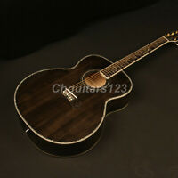 Electrionic Acoustic Guitar Jumbo Solid Spruce Top Black Finish Abalone Inlay