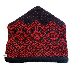 VINTAGE Turtle Fur Ski Beanie Cap Hat Fair Isle Wool Red Black 90's Vermont USA