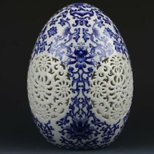 Chinese blue and white porcelain hand-painted flower spherical hollow vase a7005
