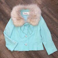 Vintage LILLI ANN Paris San Francisco Mint Green Blazer w Bow Fox Fur Collar S/M