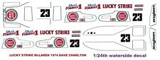 #23 Dave Charlton Lucky Strike McLaren M23 1974 F1 1/24th - 1/25th Scale Decals