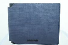 New Lanvin Men's Wallet Credit Card Case Navy Bi-Fold CC Money Holder Leather