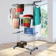 Wäscheständer Wäschetrockner Kleiderständer Trockengestell 3 Ebenen Mit 4 Rollen