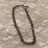 Vintage Silver Bracelet Italian 1970s belcher chain 925 Spring Clip Clasp 7.5in