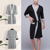 Mens Casual Pajamas Kimono Bathrobe Robe Dressing Gown Pjs Loungewear Summer