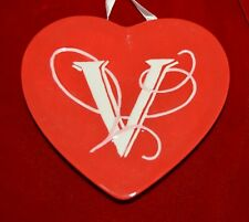 MWW Market Red HEART initial V Ceramic Heart  Christmas Ornament 4.5""