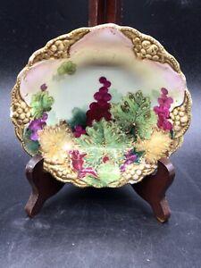 Antique Moriage Porcelain Finger Bowl with Grape Motif