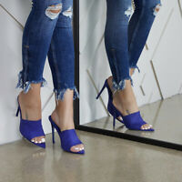 Ladies Womens High Stiletto Heel Ankle Sandals Pointed Toe Fashion Shoes shan