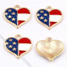 10pc Gold Plated Small Pendants Star Heart Flag Pendant Charm Jewelry Making 940