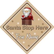 Personalizzata Babbo Natale Stop Qui Firmare finestra ~ Babbo scendendo CAMINO – Marrone