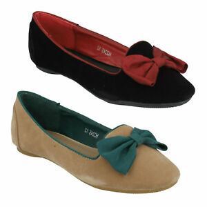 GIRLS CUTIE H2R245 SMART SLIP ON BOW TRIM CASUAL FORMAL LOAFERS PUMPS SHOES