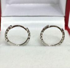 18k Solid White Gold Cute Hoop Kids/women  Earrings, Diamond Cut 0.80 Grams