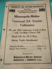 Minneapolis Moline Universal ZA Tractor Cultivators Parts List