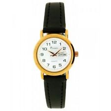Picador Women's Rose Gold Dial Black PU Leather Strap Day Date Analog Watch