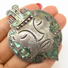 Antique Mexico 925 Sterling & Abalone Inlay Tribal Face Large Brooch / Pendant