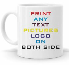 2 x Personalised Mug Any Text Message Logo Image Picture +  free Delivery