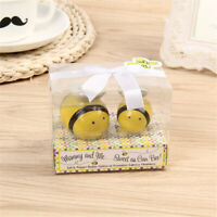 1 Pair Ceramic Salt & Pepper Pots Condiment Set Cute Bee Shape For Table Decor