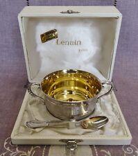COFFRET ANCIEN 2 PIECES EN METAL ARGENTE LENAIN TASSE A OREILLES ET CUILLERE