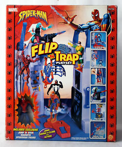 RARE 2004 SPIDERMAN FLIP N TRAP PLAYSET + JUMP N STICK MAGNETIC TOY BIZ NEW !