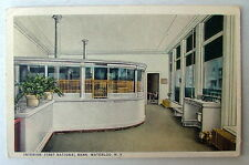 1941 Postcard Interior View Of First National Bank Waterloo New York #33xd