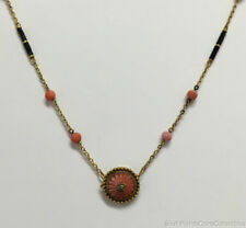 """Estate Jewelry Vintage Coral & Onyx Necklace 14K Yellow Gold 14"""" Long"""