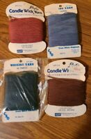 Lot of 4 VINTAGE Candle Wick Yarn Lily & CSO Blue Brown Rust Dk.Slate
