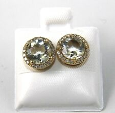 Round Green Amethyst & Diamond Halo Stud Earrings 14K Yellow Gold 2.56Ct