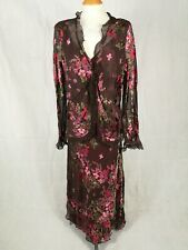 Ladies Dress Jacket Size 18 Suit Mother of Bride MONSOON Brown Pink Chiffon