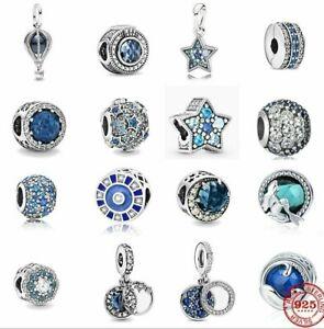 Blue CZ 925 Sterling Silver Charms European Aqua Bead Pendant Fit Women Bracelet