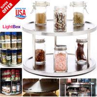 2-Tier Spice Organizer Shelf Rack Stainless Steel Kitchen Holder Condiment Rotat