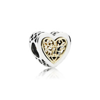Heart Real Sterling Silver Charm fit European Bracelet with Free Gift Pouch