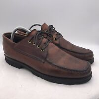 Gokey Company Moc Toe Pebbled Oxford Boat Shoes Sz 9C Brown Vintage Leather