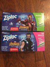 Ziploc Bags Avengers Infinity War Lot of 2 Sizes - 8 Marvel Iron Man Thor T