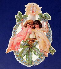 Two Girls in A Wreath Vintage Hand Glittered Christmas Ornament by Marian Heath