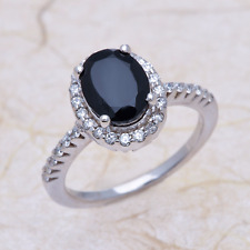 Natural Black Spinel Engagement Ring - 9x7mm Oval in 14K White Gold