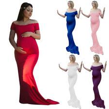 Maternity Off-shoulder Long Dress Pregnant Women Party Maxi Dresses for Photo