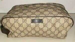 Gucci Beige/Brown Toiletry Men's 211125 GG Plus Double Zip Cosmetic Bag - USED