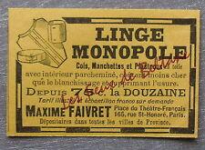 Publicité LINGE MONOPOLE MAXIME FAIVRET plastrons cols manchettes   advert 1898