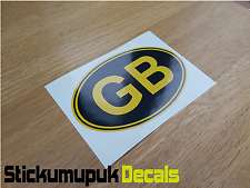 "GB Gold & Black Classic Car Van Bumper Window Sticker Decal 5""  / 125mm Wide"