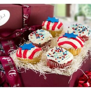 Dulcet Gift Baskets Patriotic Day Americas Red, White, and Blue Frosted Cupcakes
